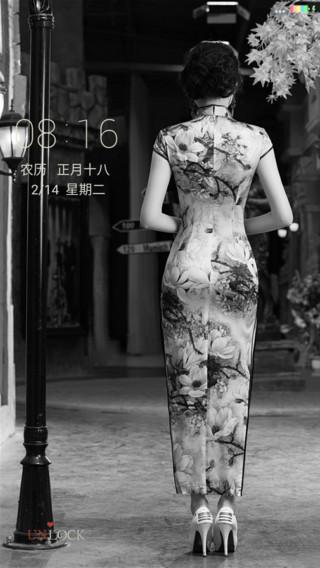 黑白古典旗袍美女
